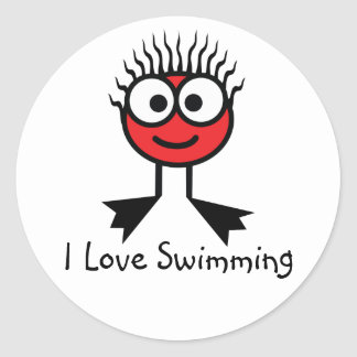 I Love Swimming - Red CharacterStickers Round Sticker