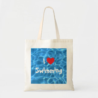 I Love Swimming Red Heart with Blue Pool Water Budget Tote Bag