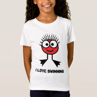 I Love Swimming - Red Swim Character T-Shirt