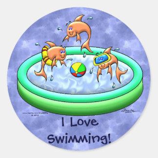 I Love Swimming! Round Sticker
