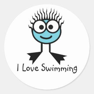 I Love Swimming Stickers