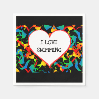 I Love Swimming Swimmer Editable Modern Abstract Paper Napkins