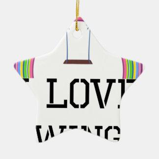 I Love Swings Ceramic Star Decoration