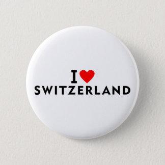 I love Switzerland country like heart travel touri 6 Cm Round Badge