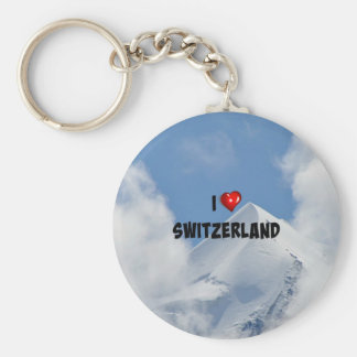I Love Switzerland, snow-covered mountains Basic Round Button Key Ring
