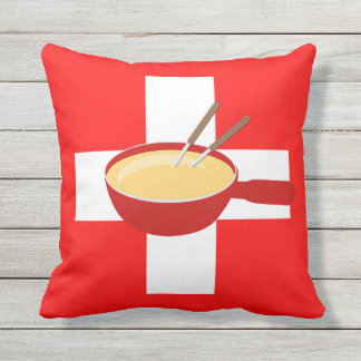 I Love Switzerland - Swiss Flag and Fondue Cushion
