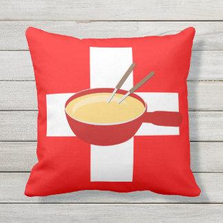 I Love Switzerland - Swiss Flag and Fondue Outdoor Cushion