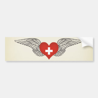 I Love Switzerland -wings Bumper Sticker