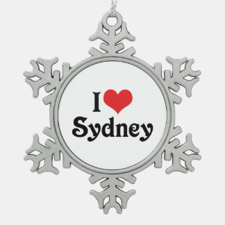 I Love Sydney Snowflake Pewter Christmas Ornament