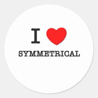 I Love Symmetrical Round Stickers