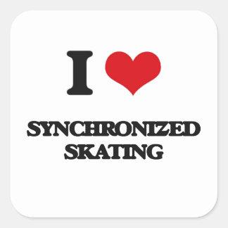 I Love Synchronized Skating Square Sticker