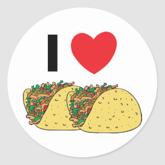 I Love Tacos Classic Round Sticker
