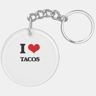 I Love Tacos Double-Sided Round Acrylic Key Ring