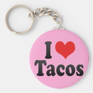 I Love Tacos Basic Round Button Key Ring
