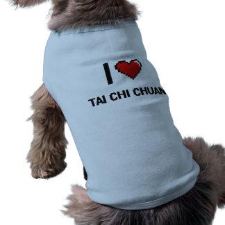 I Love Tai Chi Chuan Digital Retro Design Sleeveless Dog Shirt