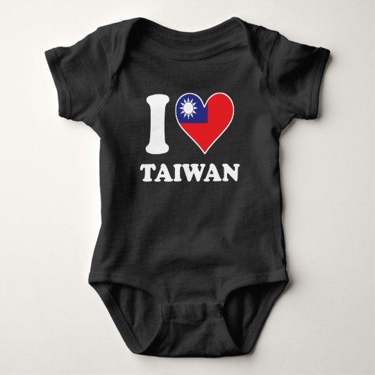 I Love Taiwan Taiwanese Flag Heart Baby Bodysuit