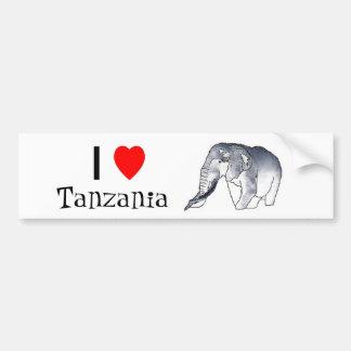 """I love Tanzania"" elephant bumper sticker"