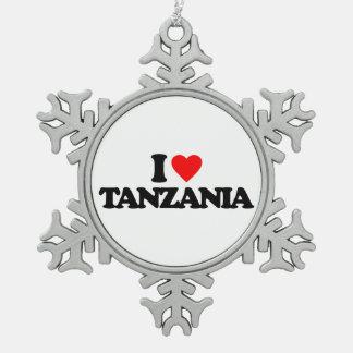 I LOVE TANZANIA PEWTER SNOWFLAKE DECORATION