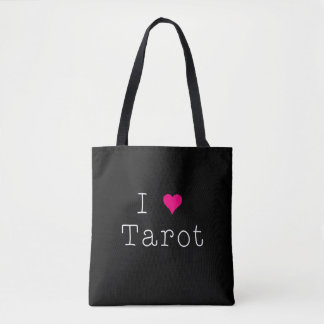 I Love Tarot Black All-Over-Print Tote Bag