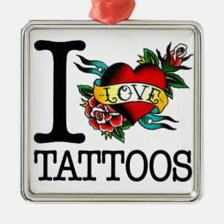 i love tattoos tattoo inked tat design Silver-Colored square decoration