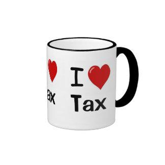 I Love Tax I Love Tax I Heart Tax Triple Sided Ringer Mug
