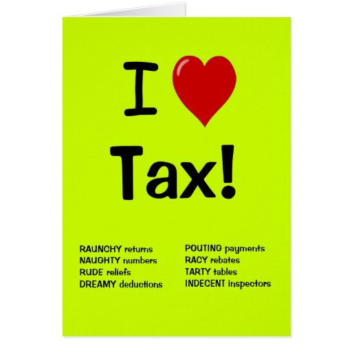 I Love Tax  - Personalisable Thank You Card