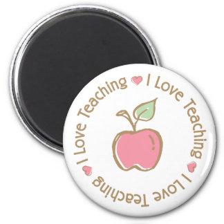 I Love Teaching Apple 6 Cm Round Magnet