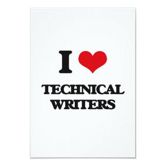 "I love Technical Writers 3.5"" X 5"" Invitation Card"
