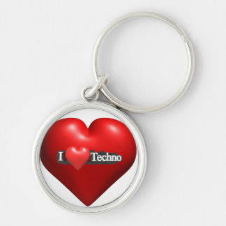 I love Techno #2 by fameland Silver-Colored Round Key Ring