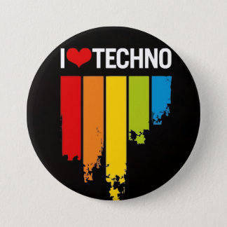 I love techno 7.5 cm round badge