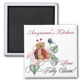 I Love Teddy Bears Lady Bug Bear Square Magnet
