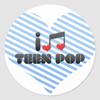 I Love Teen Pop Classic Round Sticker