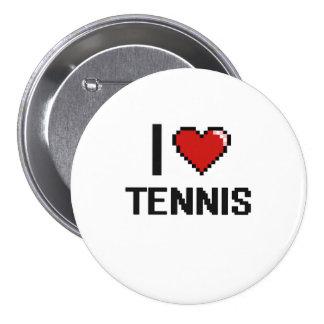 I Love Tennis Digital Retro Design 7.5 Cm Round Badge