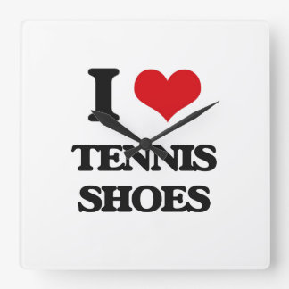 I love Tennis Shoes Square Wallclocks