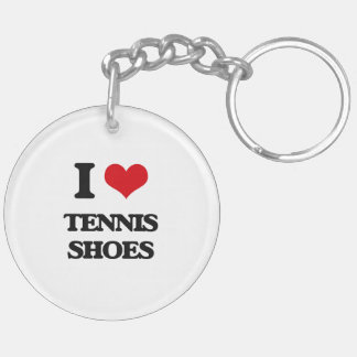 I love Tennis Shoes Double-Sided Round Acrylic Keychain