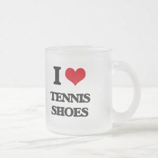 I love Tennis Shoes 10 Oz Frosted Glass Coffee Mug
