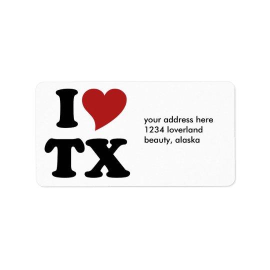 I Love Texas Address Label