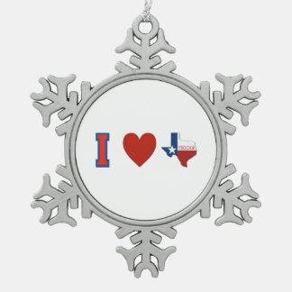 I Love Texas Pewter Snowflake Ornament