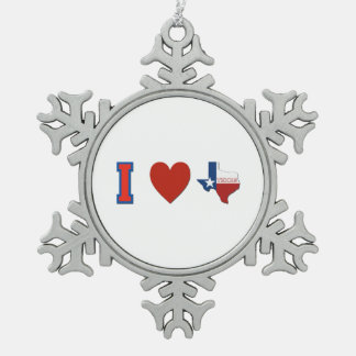I Love Texas Pewter Snowflake Decoration