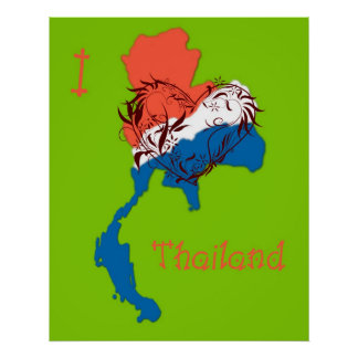I Love Thailand Poster Green