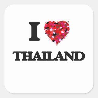 I Love Thailand Square Sticker