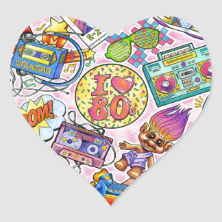 I love the 80s - 1980s Swag Heart Sticker