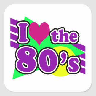 I Love the 80's Geometric Neon Eighties Party Square Sticker