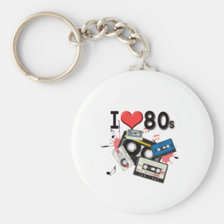 I love the 80s multiple products selected basic round button key ring