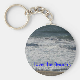 I love the Beach(: Basic Round Button Key Ring