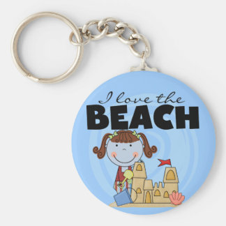 I Love the Beach Brunette Girl Tshirts and Gifts Basic Round Button Key Ring