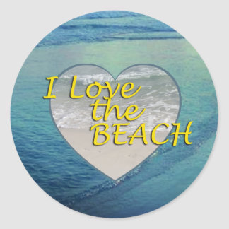 I Love the BEACH Classic Round Sticker