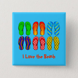 I Love the Beach - Colorful Flip Flops 15 Cm Square Badge