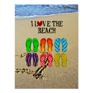I Love the Beach, Flip Flops in the Sand Poster