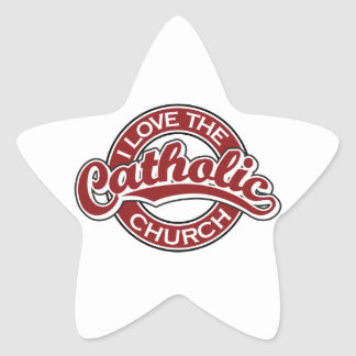 I love the Catholic Church in Red Star Stickers